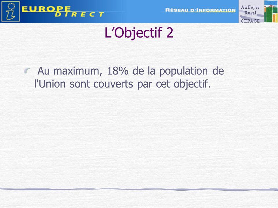 LObjectif 2 Au maximum, 18% de la population de l Union sont couverts par cet objectif.