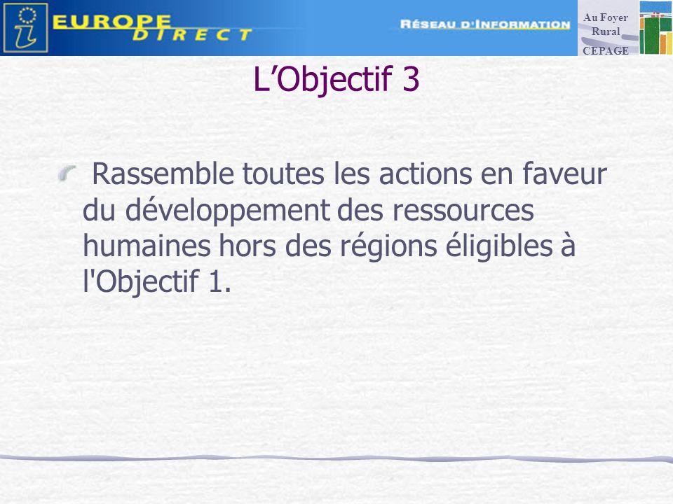 LObjectif 3 Rassemble toutes les actions en faveur du développement des ressources humaines hors des régions éligibles à l Objectif 1.