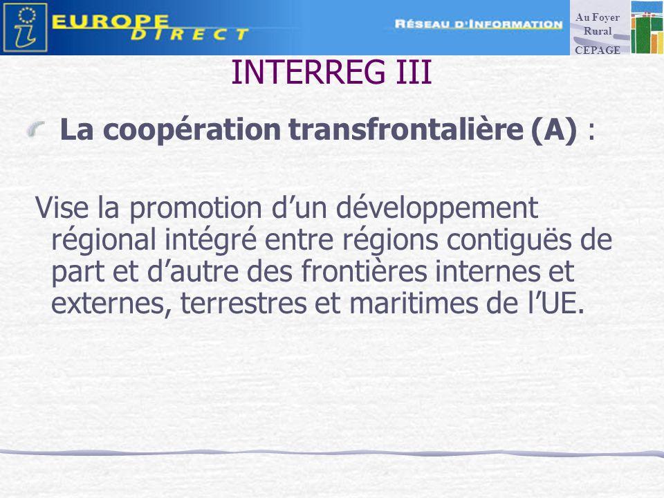 INTERREG III La coopération transfrontalière (A) : Vise la promotion dun développement régional intégré entre régions contiguës de part et dautre des frontières internes et externes, terrestres et maritimes de lUE.