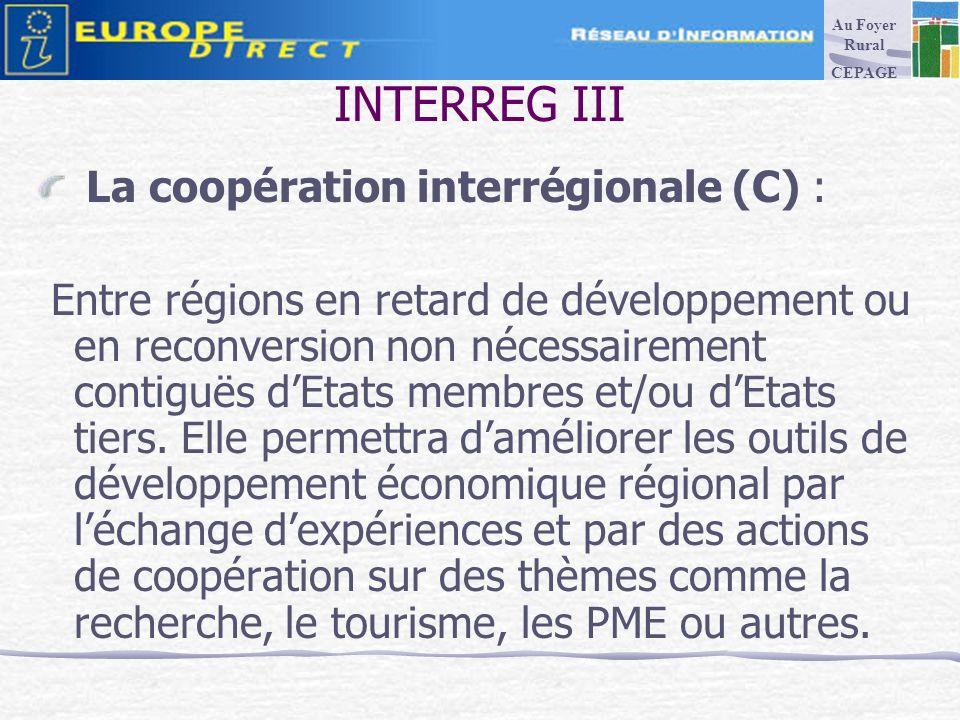 INTERREG III La coopération interrégionale (C) : Entre régions en retard de développement ou en reconversion non nécessairement contiguës dEtats membres et/ou dEtats tiers.