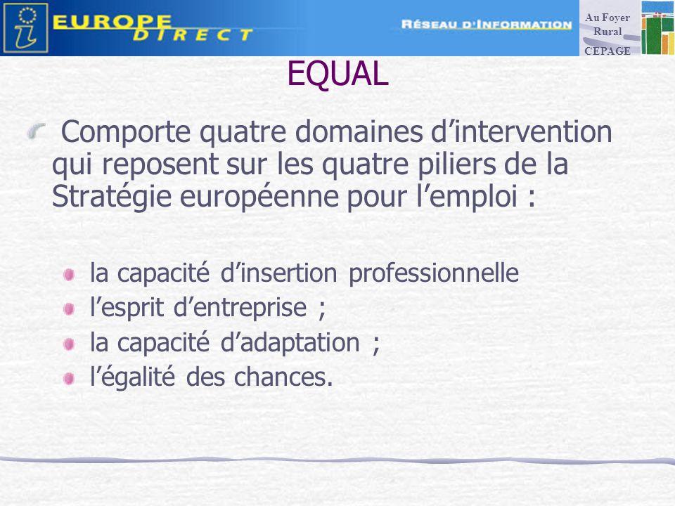 EQUAL Comporte quatre domaines dintervention qui reposent sur les quatre piliers de la Stratégie européenne pour lemploi : la capacité dinsertion professionnelle lesprit dentreprise ; la capacité dadaptation ; légalité des chances.