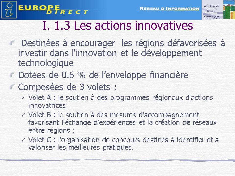 I. 1.3 Les actions innovatives Destinées à encourager les régions défavorisées à investir dans l'innovation et le développement technologique Dotées d