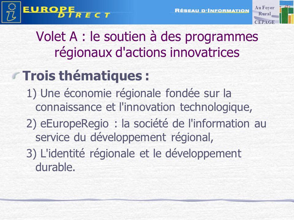 Volet A : le soutien à des programmes régionaux d actions innovatrices Trois thématiques : 1) Une économie régionale fondée sur la connaissance et l innovation technologique, 2) eEuropeRegio : la société de l information au service du développement régional, 3) L identité régionale et le développement durable.