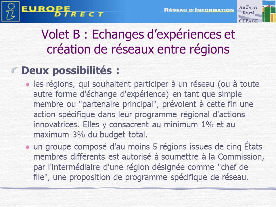 Volet B : Echanges dexpériences et création de réseaux entre régions Deux possibilités : les régions, qui souhaitent participer à un réseau (ou à toute autre forme d échange d expérience) en tant que simple membre ou partenaire principal , prévoient à cette fin une action spécifique dans leur programme régional d actions innovatrices.