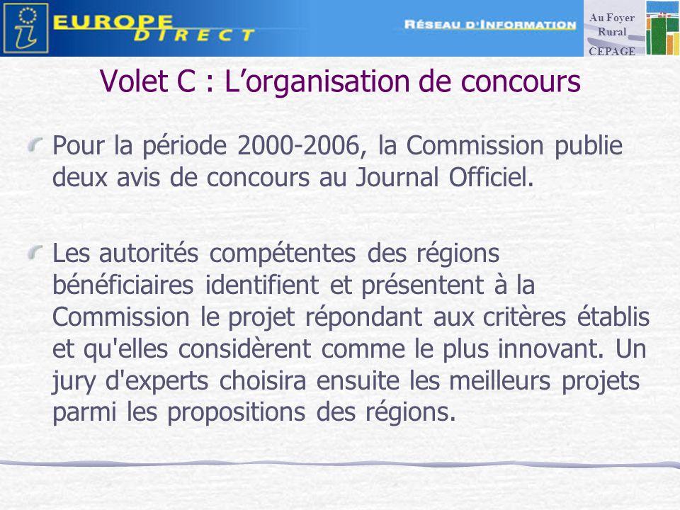 Volet C : Lorganisation de concours Pour la période 2000-2006, la Commission publie deux avis de concours au Journal Officiel.