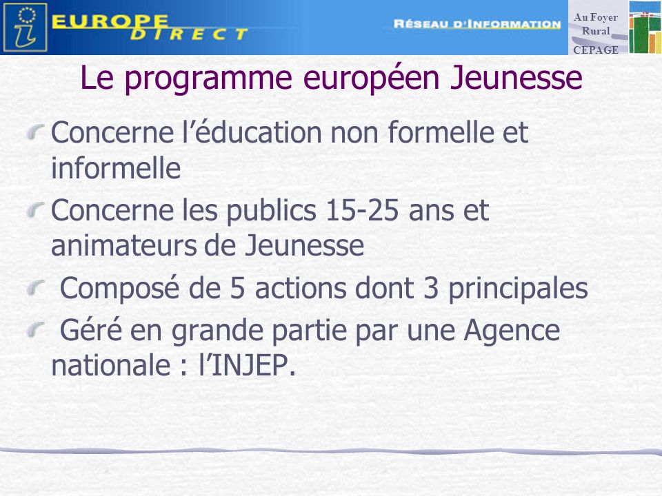 Le programme européen Jeunesse Concerne léducation non formelle et informelle Concerne les publics 15-25 ans et animateurs de Jeunesse Composé de 5 actions dont 3 principales Géré en grande partie par une Agence nationale : lINJEP.