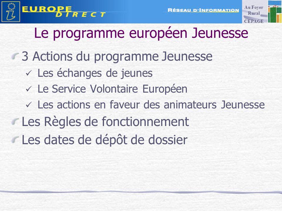 Le programme européen Jeunesse 3 Actions du programme Jeunesse Les échanges de jeunes Le Service Volontaire Européen Les actions en faveur des animateurs Jeunesse Les Règles de fonctionnement Les dates de dépôt de dossier Au Foyer Rural CEPAGE