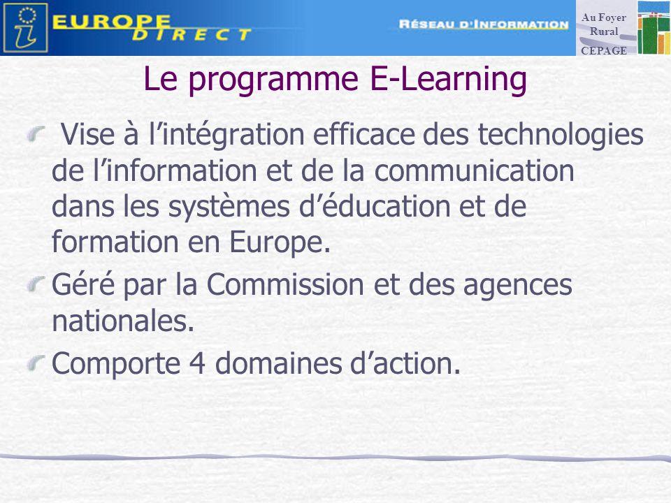 Le programme E-Learning Vise à lintégration efficace des technologies de linformation et de la communication dans les systèmes déducation et de formation en Europe.