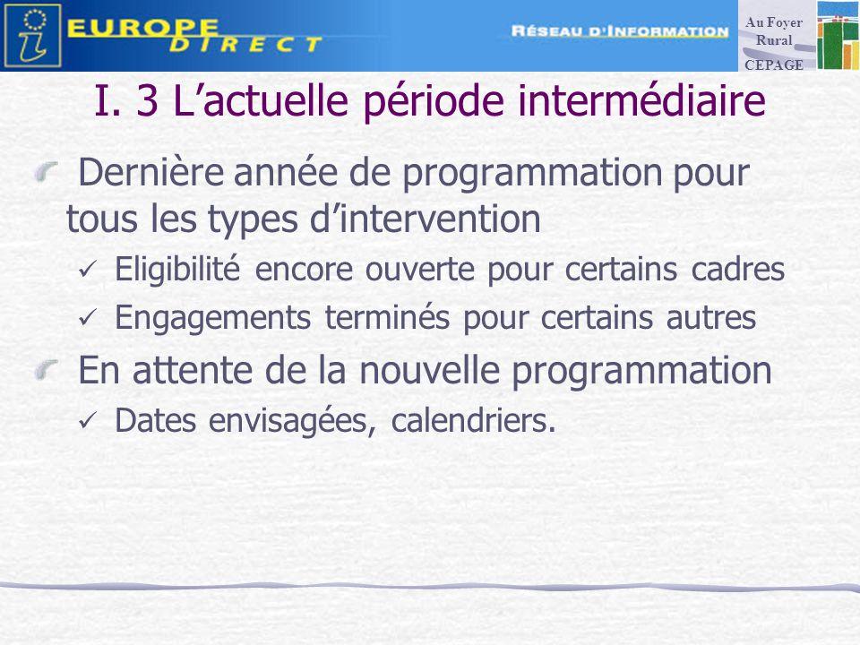 I. 3 Lactuelle période intermédiaire Dernière année de programmation pour tous les types dintervention Eligibilité encore ouverte pour certains cadres