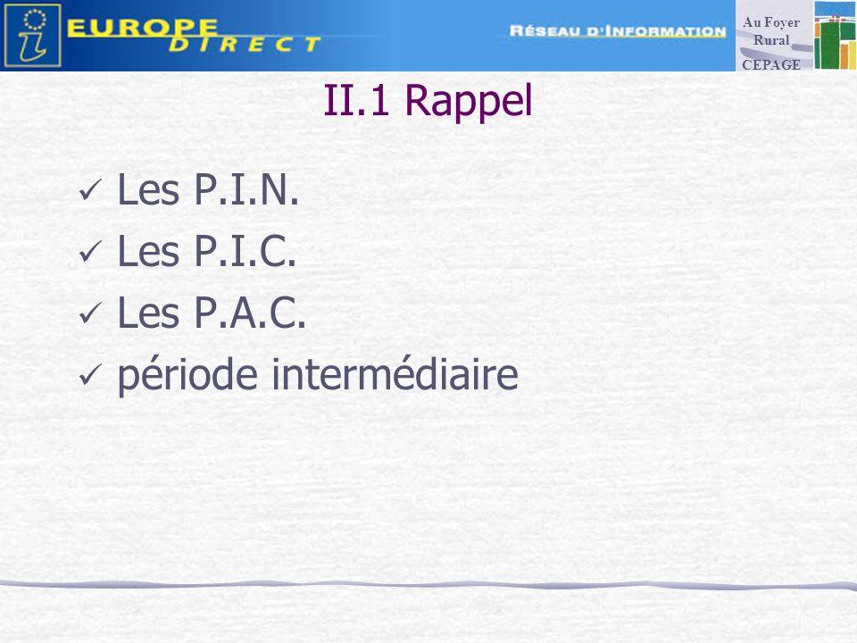 II.1 Rappel Les P.I.N. Les P.I.C. Les P.A.C. période intermédiaire Au Foyer Rural CEPAGE