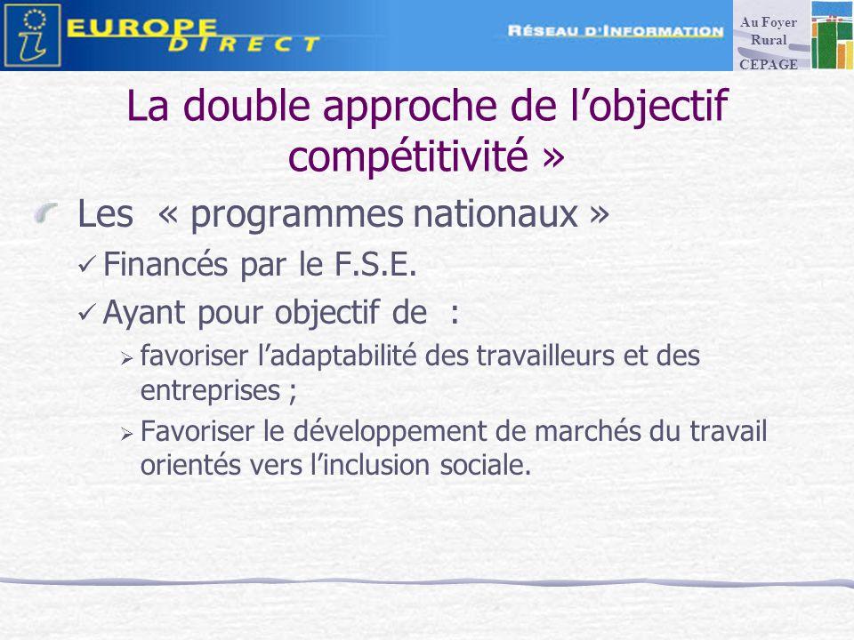 La double approche de lobjectif compétitivité » Les « programmes nationaux » Financés par le F.S.E.