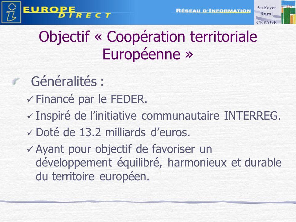 Objectif « Coopération territoriale Européenne » Généralités : Financé par le FEDER.