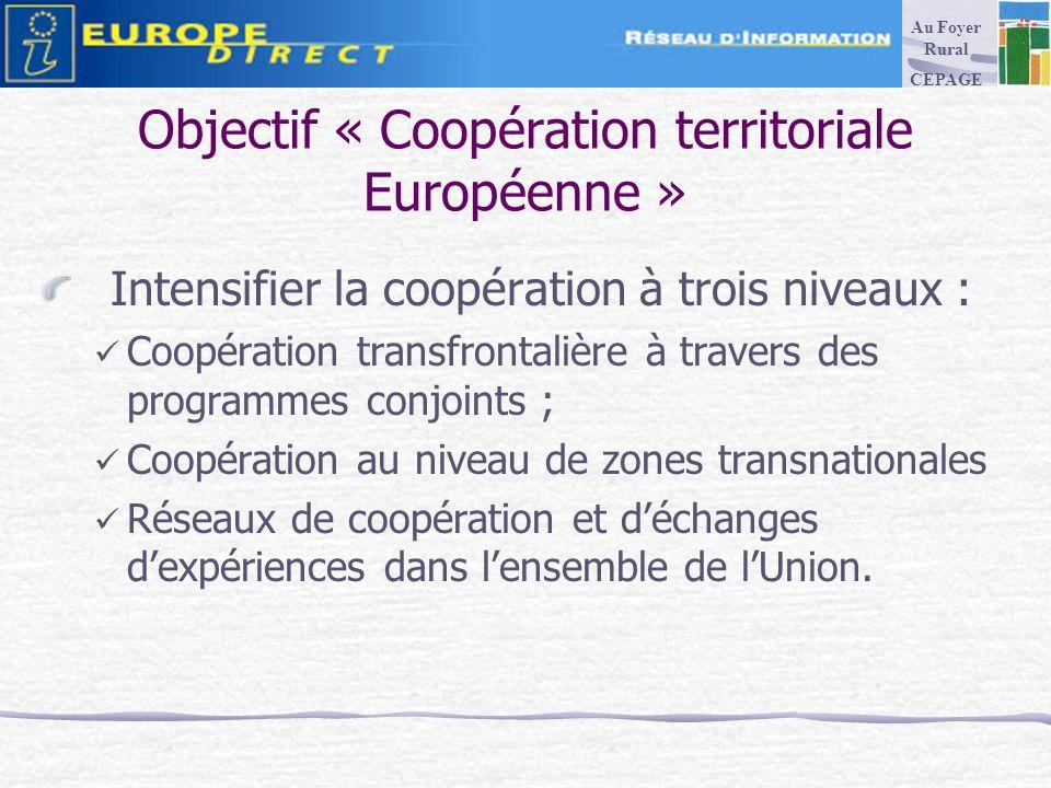 Objectif « Coopération territoriale Européenne » Intensifier la coopération à trois niveaux : Coopération transfrontalière à travers des programmes conjoints ; Coopération au niveau de zones transnationales Réseaux de coopération et déchanges dexpériences dans lensemble de lUnion.
