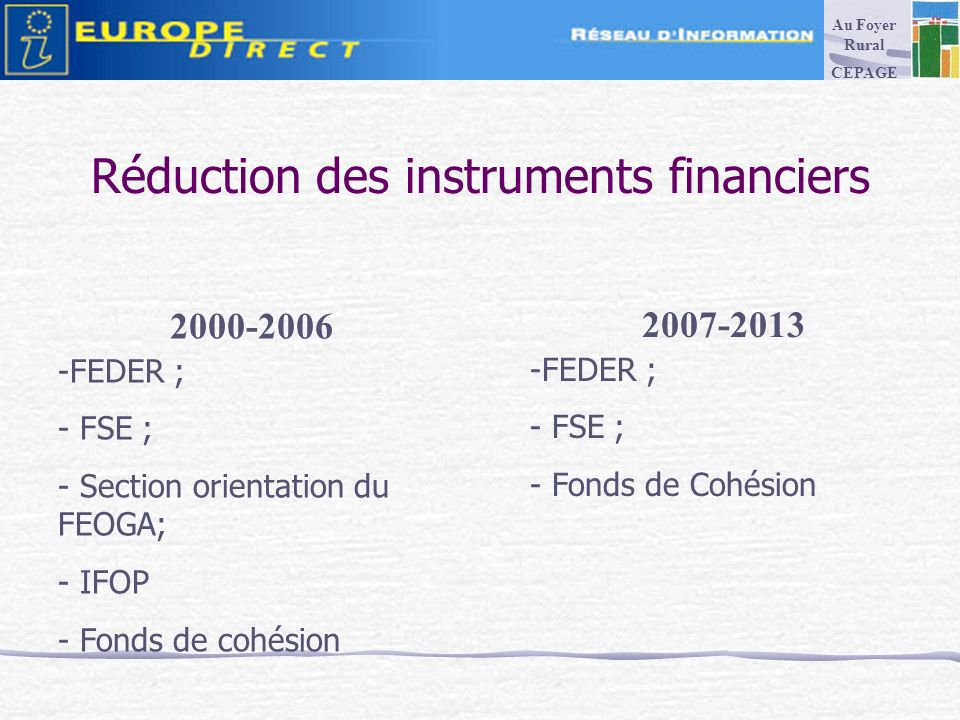Réduction des instruments financiers FEDER ; - FSE ; - Section orientation du FEOGA; - IFOP - Fonds de cohésion -FEDER ; - FSE ; - Fonds de Cohésion Au Foyer Rural CEPAGE