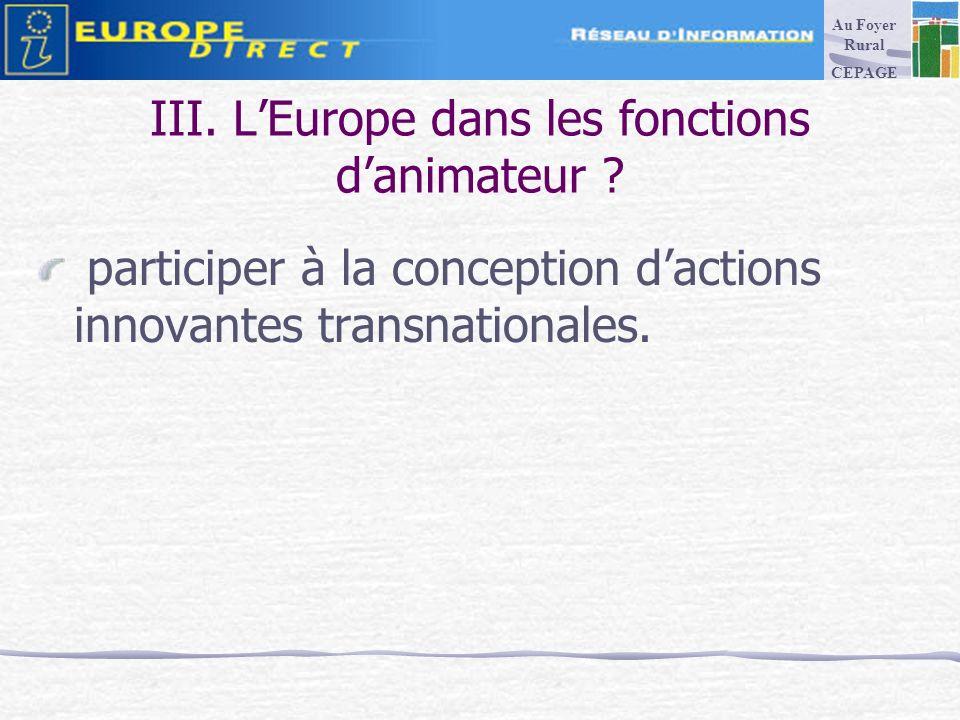 III. LEurope dans les fonctions danimateur .