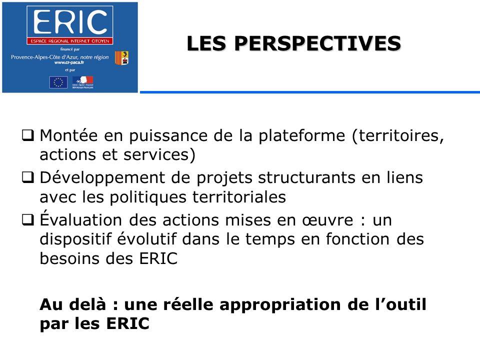 LES PERSPECTIVES Montée en puissance de la plateforme (territoires, actions et services) Développement de projets structurants en liens avec les politiques territoriales Évaluation des actions mises en œuvre : un dispositif évolutif dans le temps en fonction des besoins des ERIC Au delà : une réelle appropriation de loutil par les ERIC