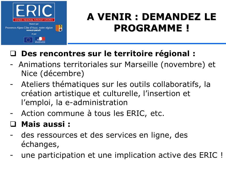 Des rencontres sur le territoire régional : - Animations territoriales sur Marseille (novembre) et Nice (décembre) -Ateliers thématiques sur les outils collaboratifs, la création artistique et culturelle, linsertion et lemploi, la e-administration -Action commune à tous les ERIC, etc.