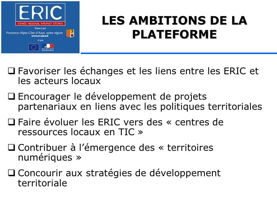 Favoriser les échanges et les liens entre les ERIC et les acteurs locaux Encourager le développement de projets partenariaux en liens avec les politiques territoriales Faire évoluer les ERIC vers des « centres de ressources locaux en TIC » Contribuer à lémergence des « territoires numériques » Concourir aux stratégies de développement territoriale LES AMBITIONS DE LA PLATEFORME