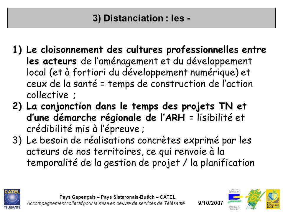 3) Distanciation : les - Pays Gapençais – Pays Sisteronais-Buëch – CATEL Accompagnement collectif pour la mise en oeuvre de services de Télésanté 9/10/2007 1)Le cloisonnement des cultures professionnelles entre les acteurs de laménagement et du développement local (et à fortiori du développement numérique) et ceux de la santé = temps de construction de laction collective ; 2)La conjonction dans le temps des projets TN et dune démarche régionale de lARH = lisibilité et crédibilité mis à lépreuve ; 3)Le besoin de réalisations concrètes exprimé par les acteurs de nos territoires, ce qui renvoie à la temporalité de la gestion de projet / la planification