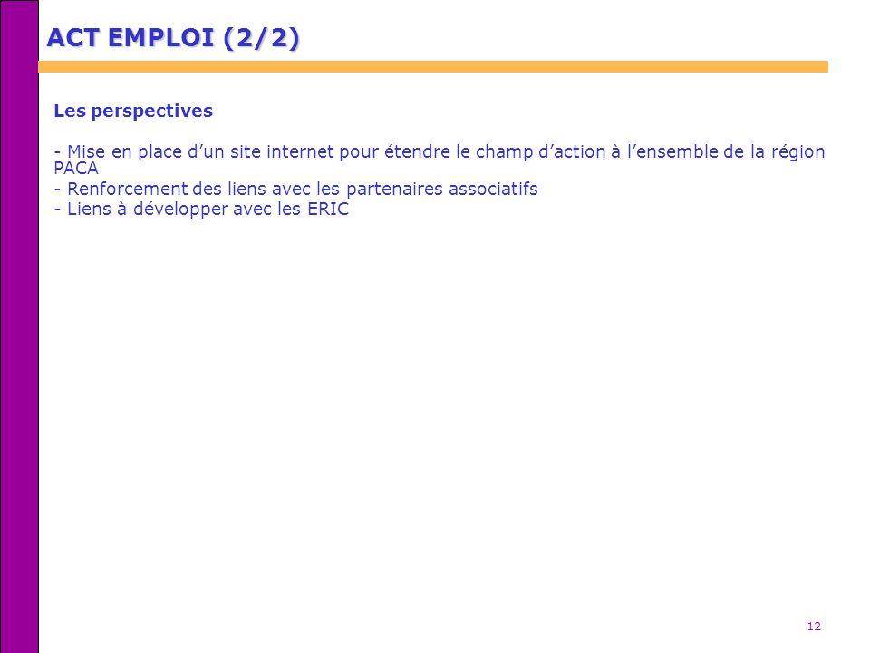 12 ACT EMPLOI (2/2) Les perspectives - Mise en place dun site internet pour étendre le champ daction à lensemble de la région PACA - Renforcement des