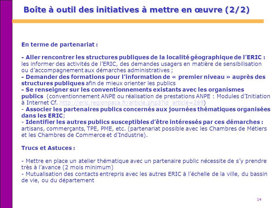 14 Boîte à outil des initiatives à mettre en œuvre (2/2) En terme de partenariat : - Aller rencontrer les structures publiques de la localité géograph