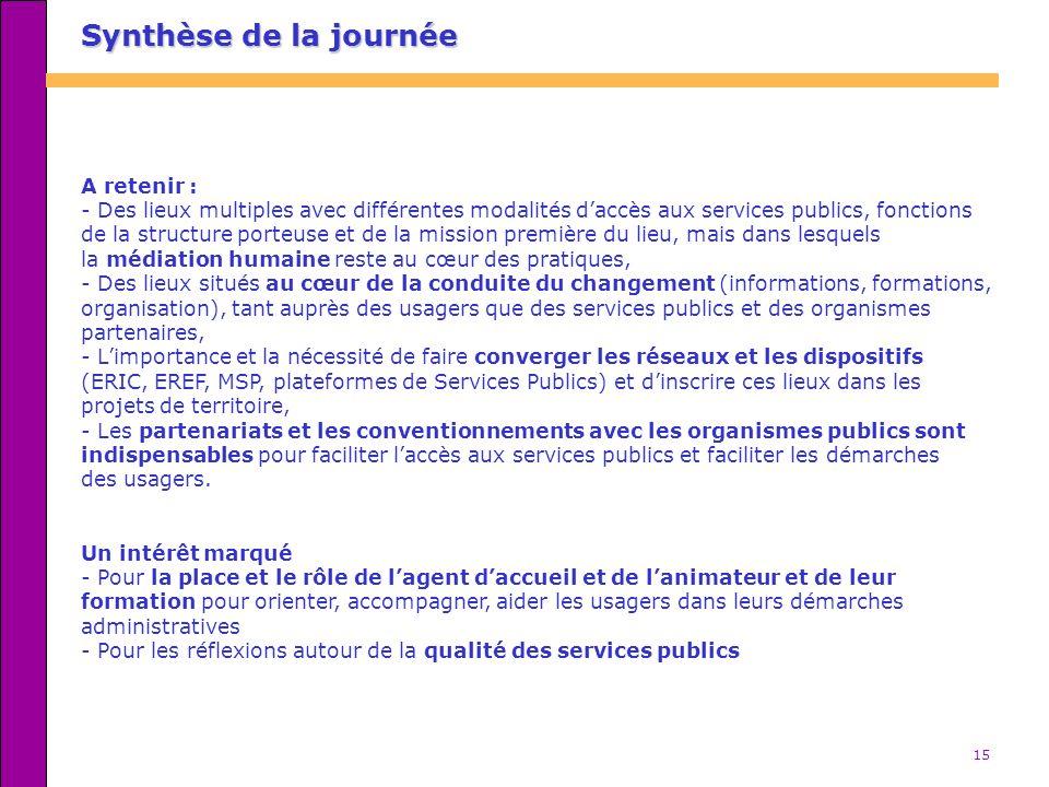 15 A retenir : - Des lieux multiples avec différentes modalités daccès aux services publics, fonctions de la structure porteuse et de la mission premi
