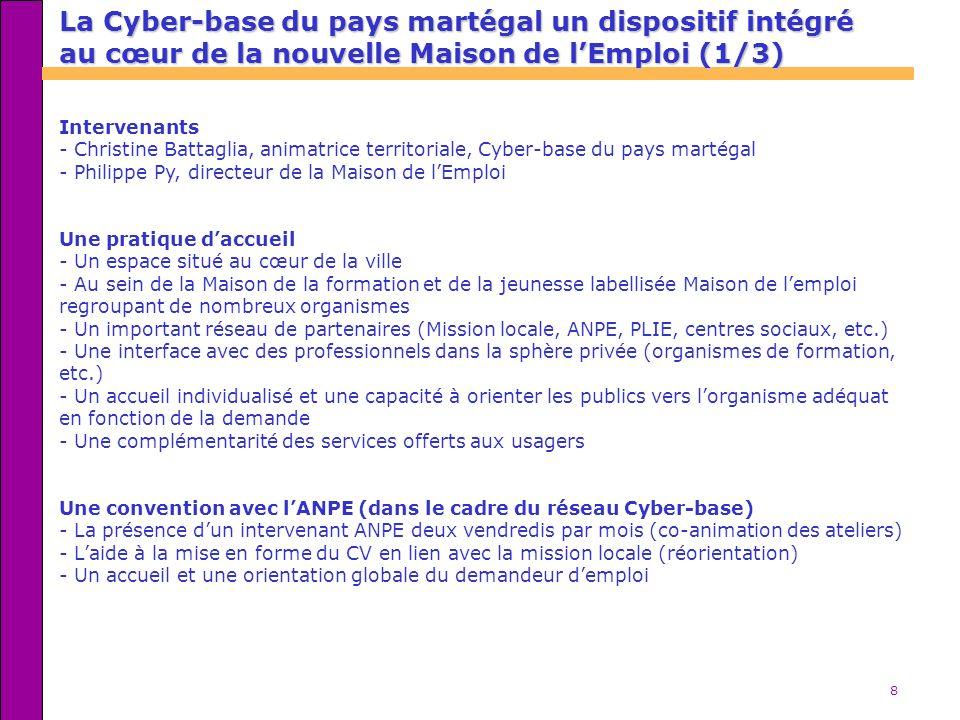 8 La Cyber-base du pays martégal un dispositif intégré au cœur de la nouvelle Maison de lEmploi (1/3) Intervenants - Christine Battaglia, animatrice t