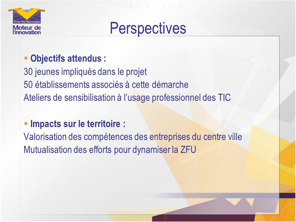 Perspectives Objectifs attendus : 30 jeunes impliqués dans le projet 50 établissements associés à cette démarche Ateliers de sensibilisation à lusage