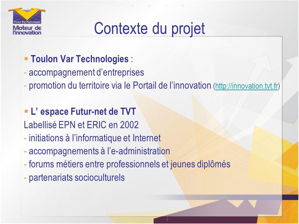 Contexte du projet Toulon Var Technologies : - accompagnement dentreprises - promotion du territoire via le Portail de linnovation (http://innovation.