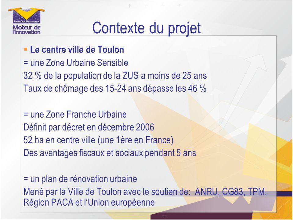 Contexte du projet Le centre ville de Toulon = une Zone Urbaine Sensible 32 % de la population de la ZUS a moins de 25 ans Taux de chômage des 15-24 a