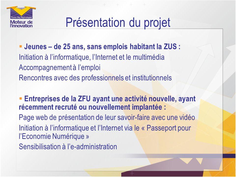 Présentation du projet Jeunes – de 25 ans, sans emplois habitant la ZUS : Initiation à linformatique, lInternet et le multimédia Accompagnement à lemp