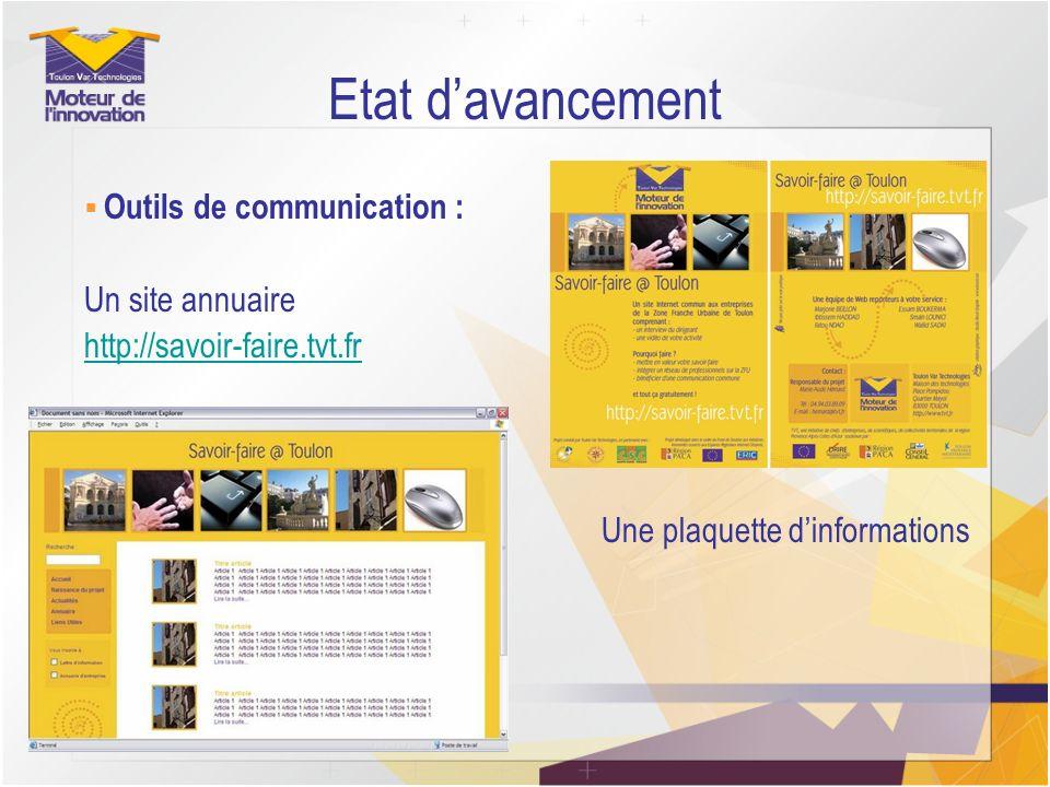 Etat davancement Outils de communication : Un site annuaire http://savoir-faire.tvt.fr Une plaquette dinformations