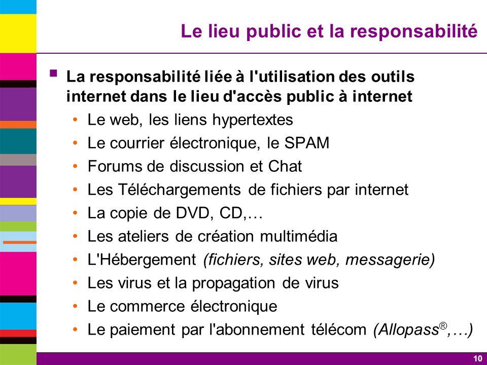 10 Le lieu public et la responsabilité La responsabilité liée à l'utilisation des outils internet dans le lieu d'accès public à internet Le web, les l