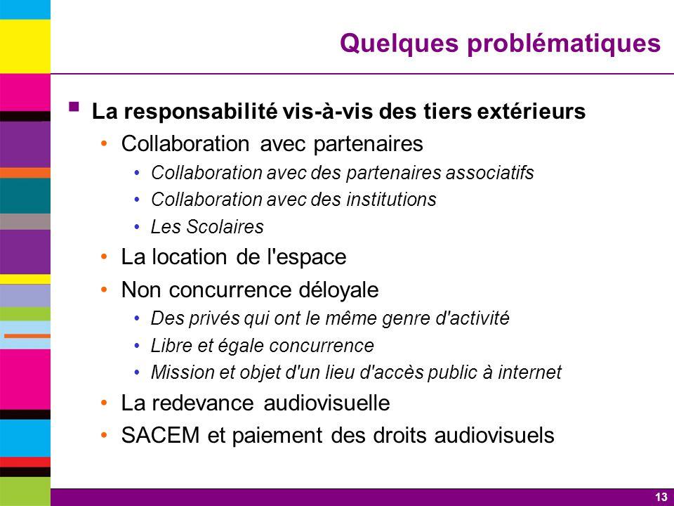 13 Quelques problématiques La responsabilité vis-à-vis des tiers extérieurs Collaboration avec partenaires Collaboration avec des partenaires associat