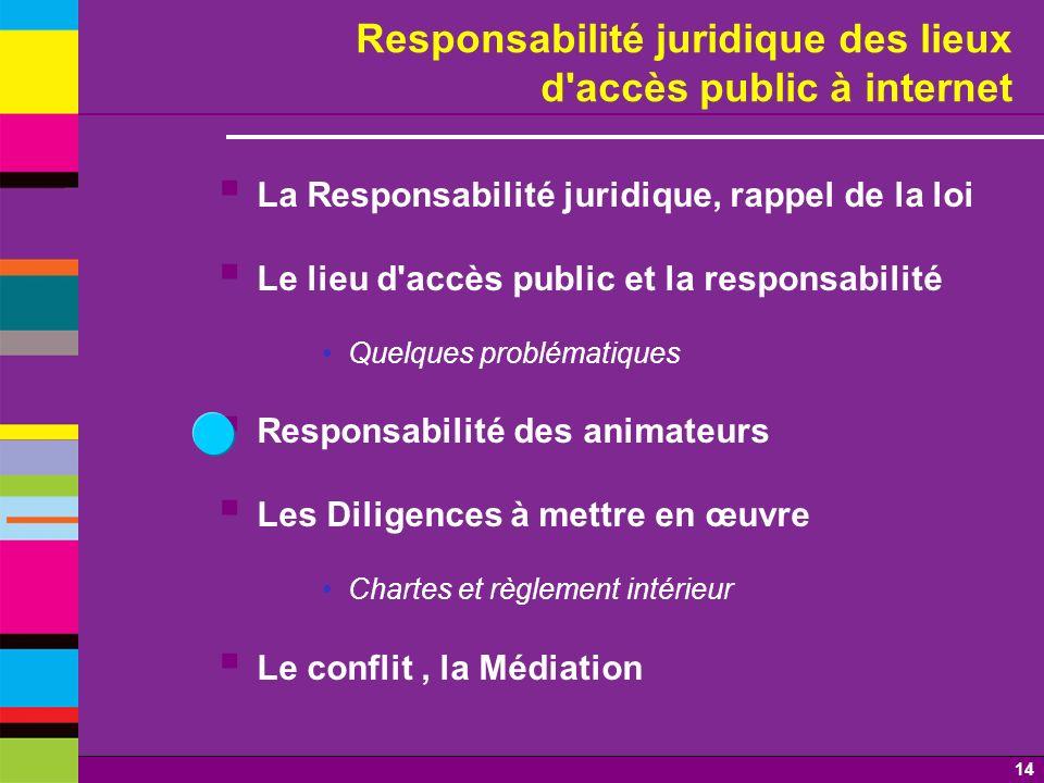 14 Responsabilité juridique des lieux d'accès public à internet La Responsabilité juridique, rappel de la loi Le lieu d'accès public et la responsabil