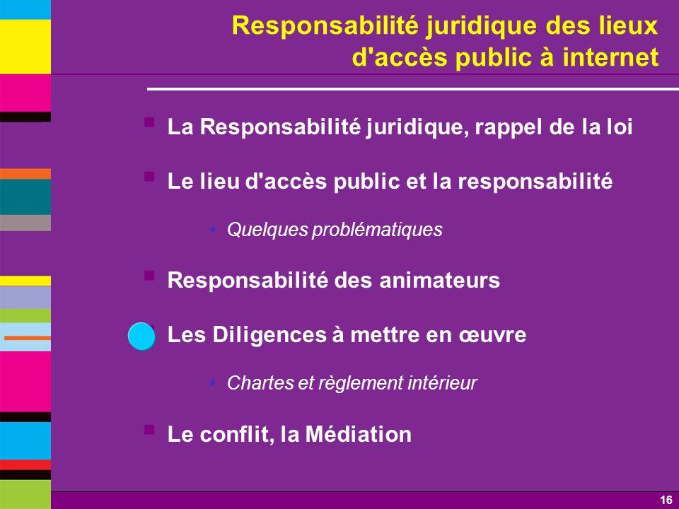 16 Responsabilité juridique des lieux d'accès public à internet La Responsabilité juridique, rappel de la loi Le lieu d'accès public et la responsabil