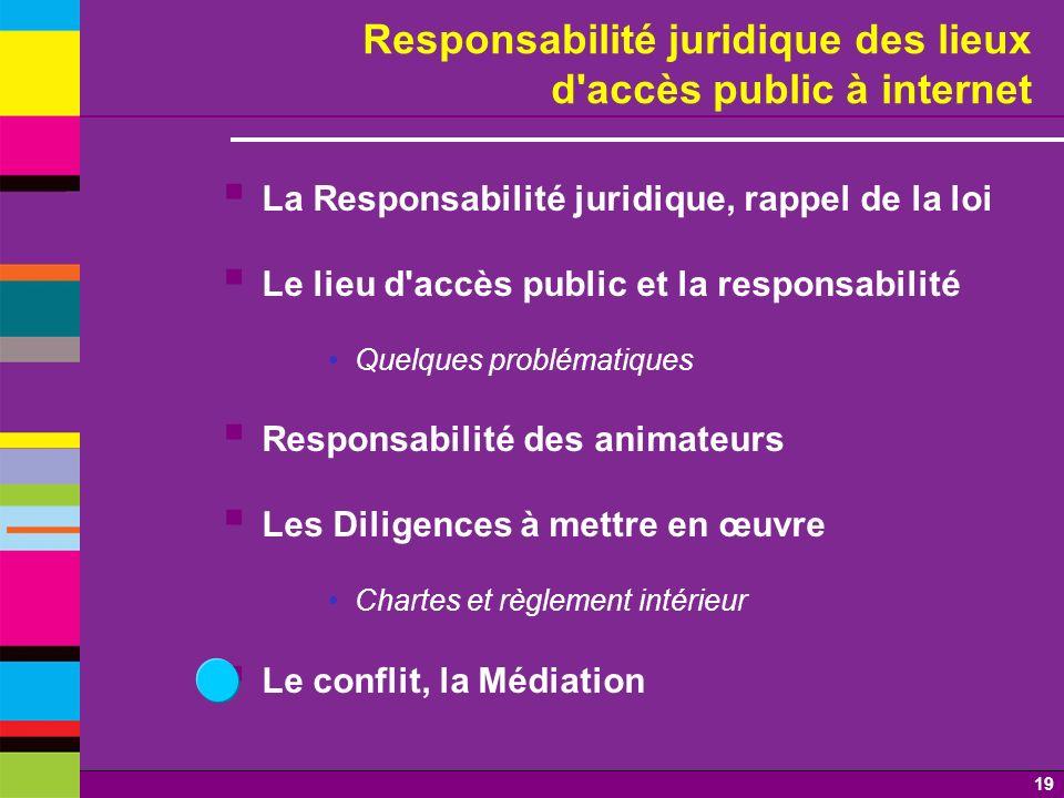 19 Responsabilité juridique des lieux d'accès public à internet La Responsabilité juridique, rappel de la loi Le lieu d'accès public et la responsabil