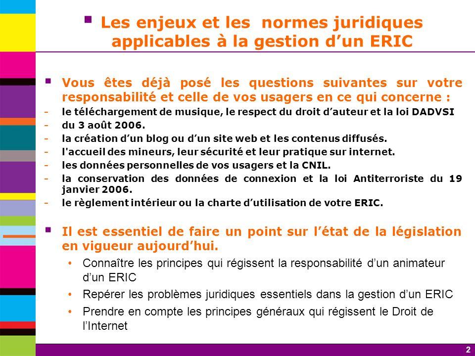 2 Les enjeux et les normes juridiques applicables à la gestion dun ERIC Vous êtes déjà posé les questions suivantes sur votre responsabilité et celle