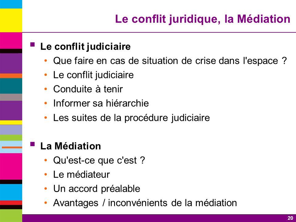20 Le conflit juridique, la Médiation Le conflit judiciaire Que faire en cas de situation de crise dans l'espace ? Le conflit judiciaire Conduite à te