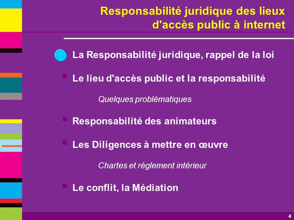 4 Responsabilité juridique des lieux d'accès public à internet La Responsabilité juridique, rappel de la loi Le lieu d'accès public et la responsabili