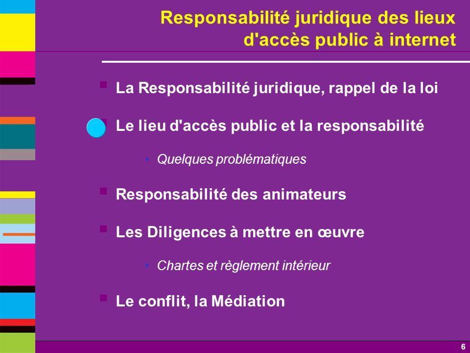 6 Responsabilité juridique des lieux d'accès public à internet La Responsabilité juridique, rappel de la loi Le lieu d'accès public et la responsabili