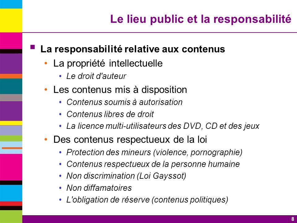 8 Le lieu public et la responsabilité La responsabilité relative aux contenus La propriété intellectuelle Le droit d'auteur Les contenus mis à disposi