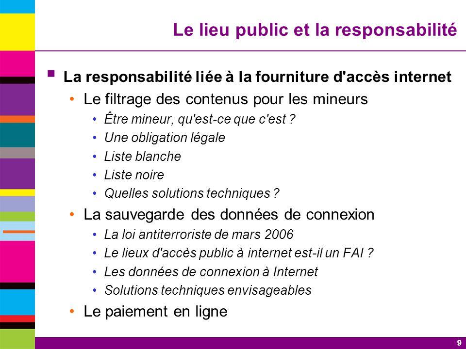 9 Le lieu public et la responsabilité La responsabilité liée à la fourniture d'accès internet Le filtrage des contenus pour les mineurs Être mineur, q