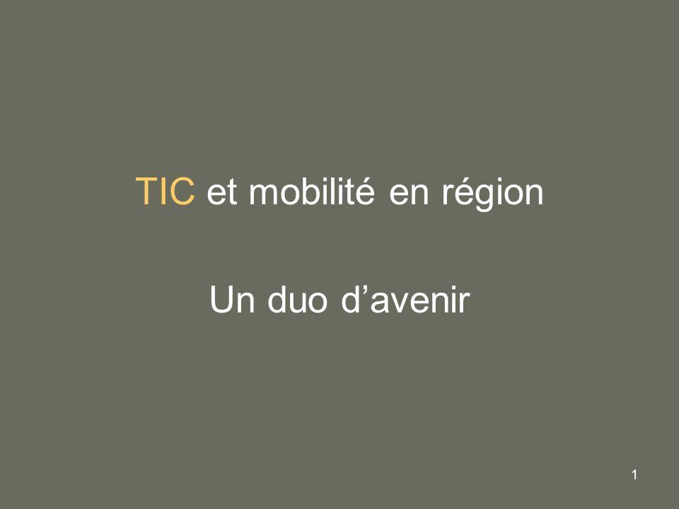 2 Les Technologies de lInformation et de la Communication Pour servir lobjectif majeur : Organiser une mobilité durable et équitable pour tous sur lensemble du territoire régional