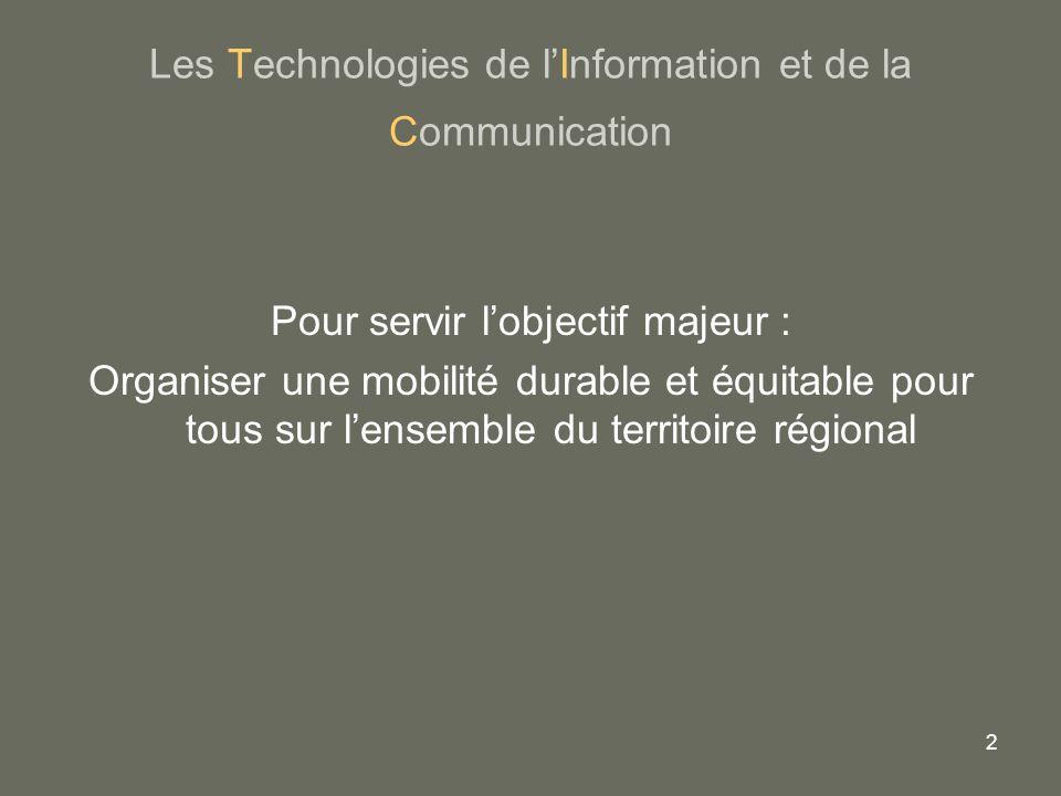 2 Les Technologies de lInformation et de la Communication Pour servir lobjectif majeur : Organiser une mobilité durable et équitable pour tous sur len