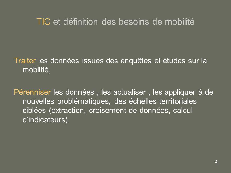 3 TIC et définition des besoins de mobilité Traiter les données issues des enquêtes et études sur la mobilité, Pérenniser les données, les actualiser,