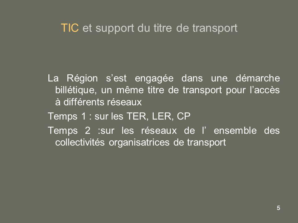 5 TIC et support du titre de transport La Région sest engagée dans une démarche billétique, un même titre de transport pour laccès à différents réseau
