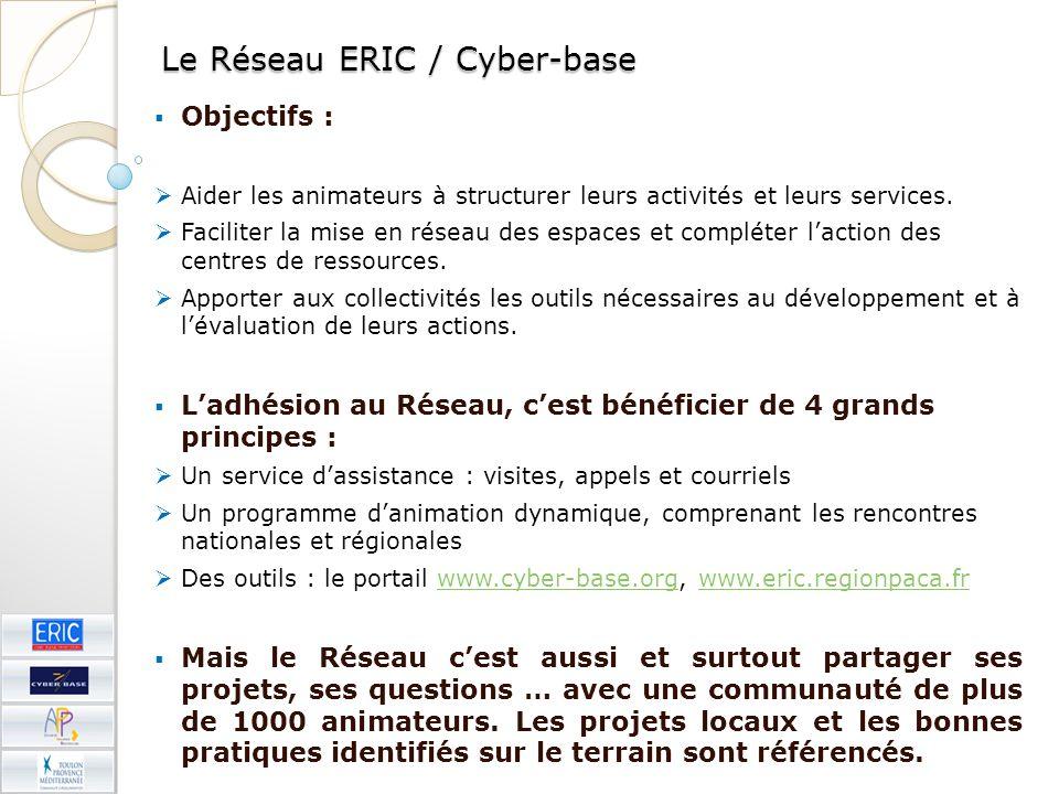 Le Réseau ERIC / Cyber-base Objectifs : Aider les animateurs à structurer leurs activités et leurs services. Faciliter la mise en réseau des espaces e