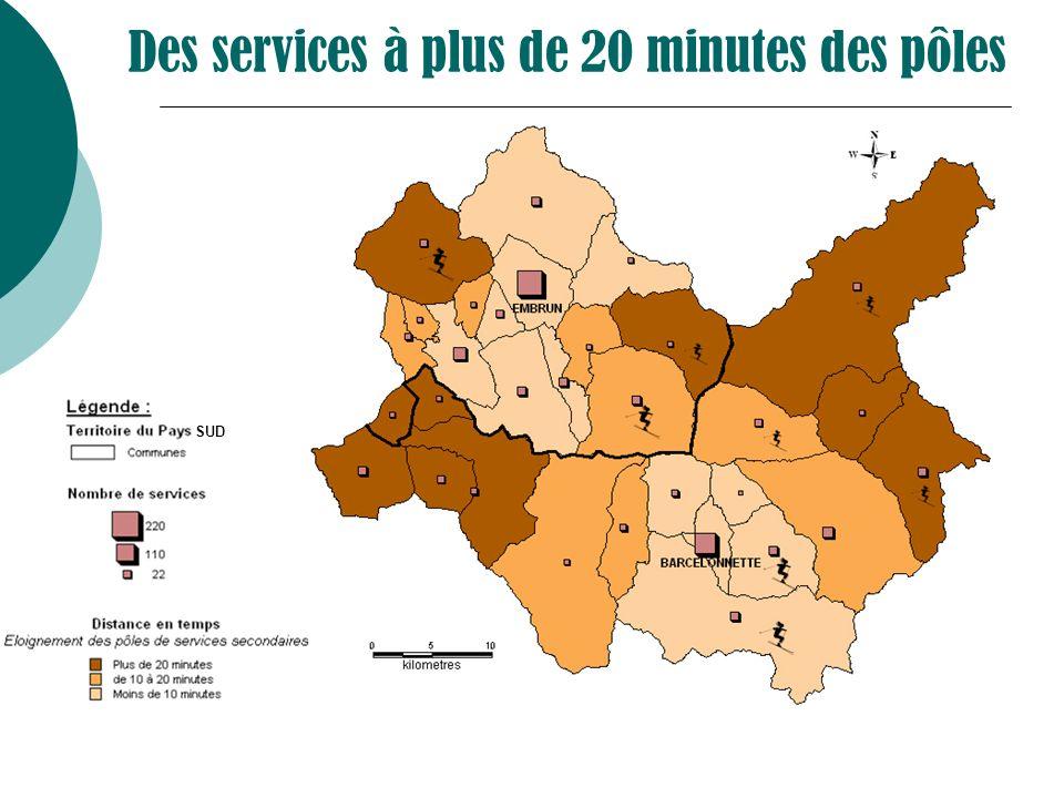Des services à plus de 20 minutes des pôles SUD