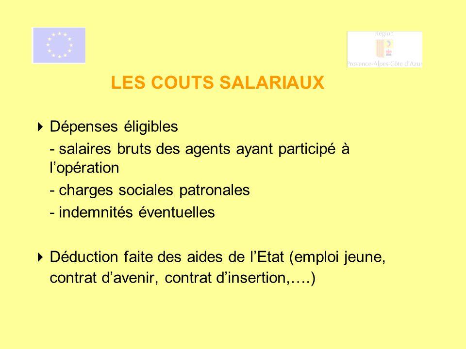 LES COUTS SALARIAUX Dépenses éligibles - salaires bruts des agents ayant participé à lopération - charges sociales patronales - indemnités éventuelles